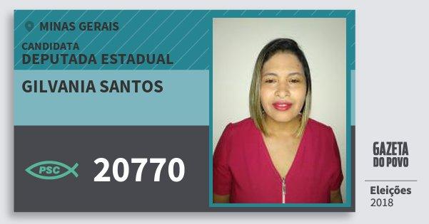 Santinho Gilvania Santos 20770 (PSC) Deputada Estadual | Minas Gerais | Eleições 2018
