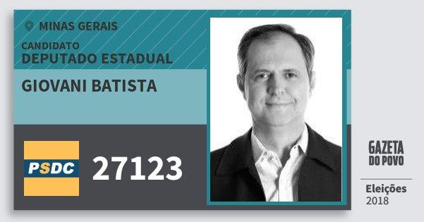 Santinho Giovani Batista 27123 (DC) Deputado Estadual | Minas Gerais | Eleições 2018