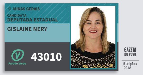 Santinho Gislaine Nery 43010 (PV) Deputada Estadual | Minas Gerais | Eleições 2018