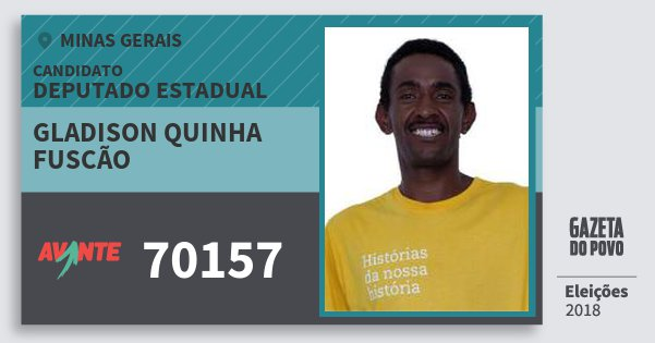 Santinho Gladison Quinha Fuscão 70157 (AVANTE) Deputado Estadual | Minas Gerais | Eleições 2018