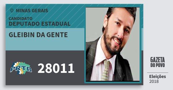 Santinho Gleibin da Gente 28011 (PRTB) Deputado Estadual | Minas Gerais | Eleições 2018
