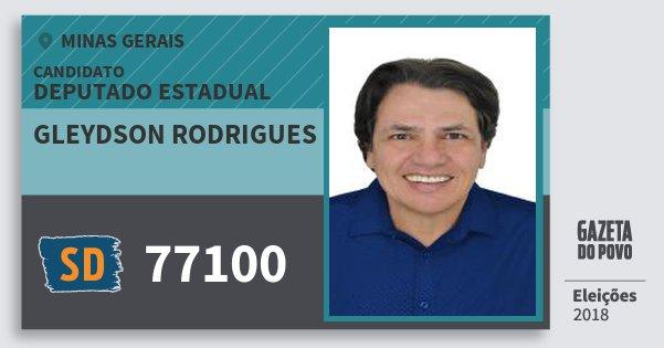 Santinho Gleydson Rodrigues 77100 (SOLIDARIEDADE) Deputado Estadual | Minas Gerais | Eleições 2018