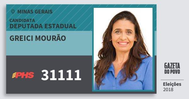 Santinho Greici Mourão 31111 (PHS) Deputada Estadual | Minas Gerais | Eleições 2018