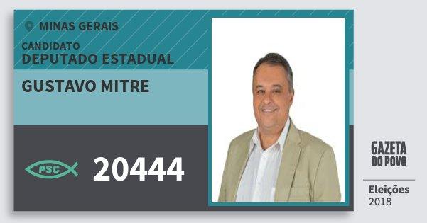 Santinho Gustavo Mitre 20444 (PSC) Deputado Estadual | Minas Gerais | Eleições 2018