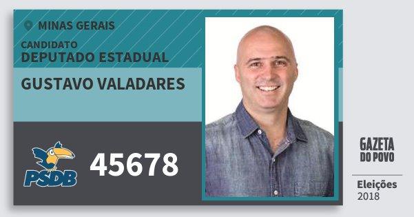Santinho Gustavo Valadares 45678 (PSDB) Deputado Estadual | Minas Gerais | Eleições 2018