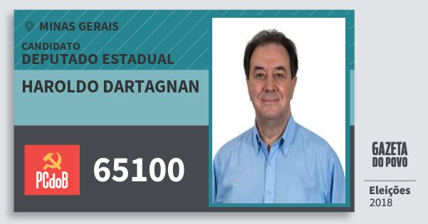 Santinho Haroldo Dartagnan 65100 (PC do B) Deputado Estadual | Minas Gerais | Eleições 2018