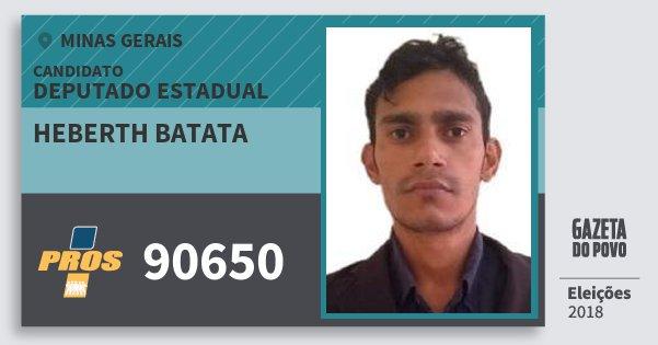 Santinho Heberth Batata 90650 (PROS) Deputado Estadual | Minas Gerais | Eleições 2018