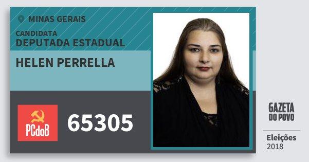 Santinho Helen Perrella 65305 (PC do B) Deputada Estadual | Minas Gerais | Eleições 2018