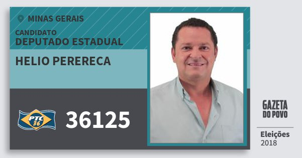 Santinho Helio Perereca 36125 (PTC) Deputado Estadual | Minas Gerais | Eleições 2018