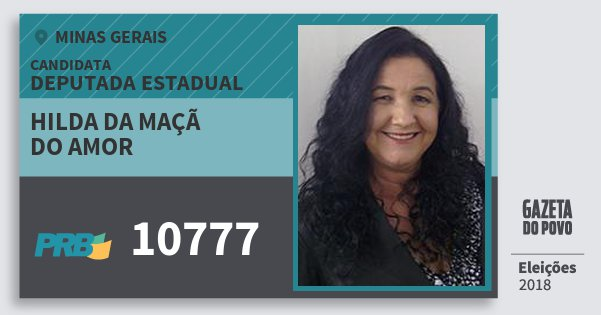 Santinho Hilda da Maçã do Amor 10777 (PRB) Deputada Estadual | Minas Gerais | Eleições 2018