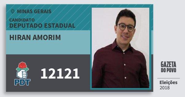 Santinho Hiran Amorim 12121 (PDT) Deputado Estadual | Minas Gerais | Eleições 2018