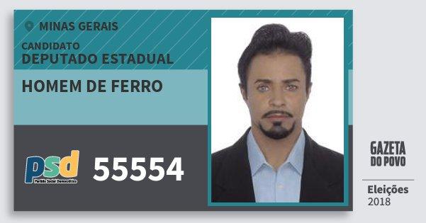 Santinho Homem de Ferro 55554 (PSD) Deputado Estadual | Minas Gerais | Eleições 2018