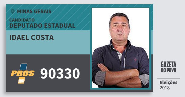 Santinho Idael Costa 90330 (PROS) Deputado Estadual | Minas Gerais | Eleições 2018