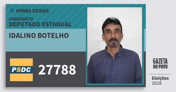 Santinho Idalino Botelho 27788 (DC) Deputado Estadual | Minas Gerais | Eleições 2018