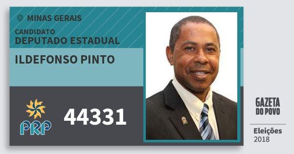 Santinho Ildefonso Pinto 44331 (PRP) Deputado Estadual | Minas Gerais | Eleições 2018