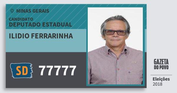 Santinho Ilidio Ferrarinha 77777 (SOLIDARIEDADE) Deputado Estadual | Minas Gerais | Eleições 2018