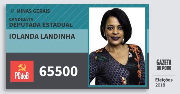 Santinho Iolanda Landinha 65500 (PC do B) Deputada Estadual | Minas Gerais | Eleições 2018