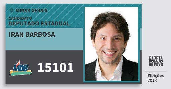 Santinho Iran Barbosa 15101 (MDB) Deputado Estadual | Minas Gerais | Eleições 2018