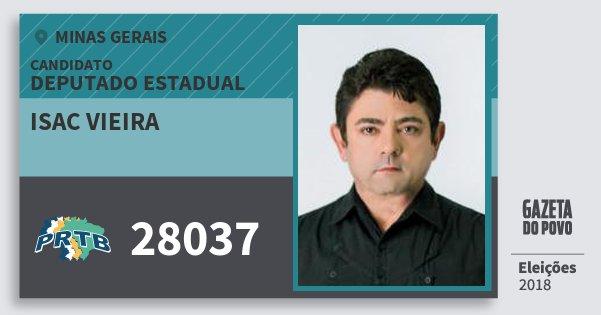 Santinho Isac Vieira 28037 (PRTB) Deputado Estadual | Minas Gerais | Eleições 2018