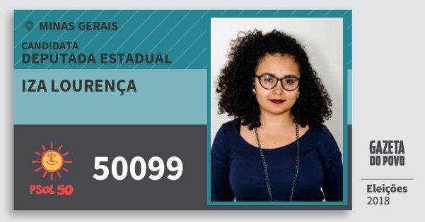 Santinho Iza Lourença 50099 (PSOL) Deputada Estadual | Minas Gerais | Eleições 2018