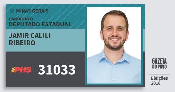 Santinho Jamir Calili Ribeiro 31033 (PHS) Deputado Estadual | Minas Gerais | Eleições 2018