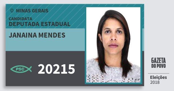 Santinho Janaina Mendes 20215 (PSC) Deputada Estadual | Minas Gerais | Eleições 2018