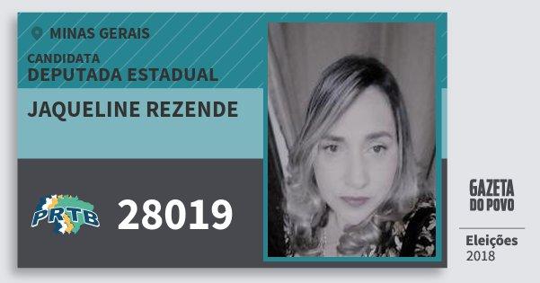 Santinho Jaqueline Rezende 28019 (PRTB) Deputada Estadual | Minas Gerais | Eleições 2018