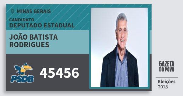 Santinho João Batista Rodrigues 45456 (PSDB) Deputado Estadual | Minas Gerais | Eleições 2018