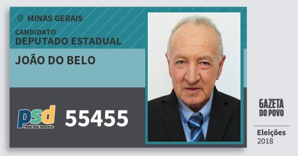 Santinho João do Belo 55455 (PSD) Deputado Estadual | Minas Gerais | Eleições 2018