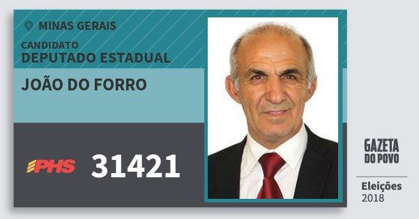 Santinho João do Forro 31421 (PHS) Deputado Estadual | Minas Gerais | Eleições 2018