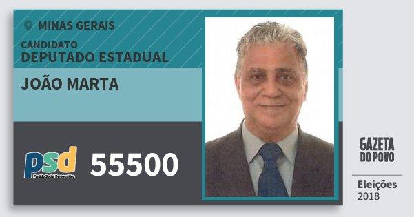 Santinho João Marta 55500 (PSD) Deputado Estadual | Minas Gerais | Eleições 2018
