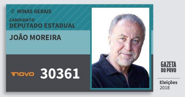 Santinho João Moreira 30361 (NOVO) Deputado Estadual | Minas Gerais | Eleições 2018