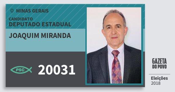 Santinho Joaquim Miranda 20031 (PSC) Deputado Estadual | Minas Gerais | Eleições 2018