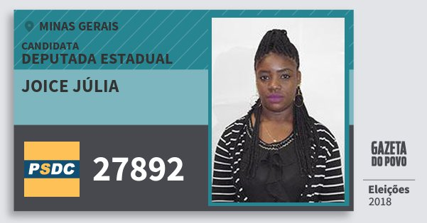 Santinho Joice Júlia 27892 (DC) Deputada Estadual | Minas Gerais | Eleições 2018