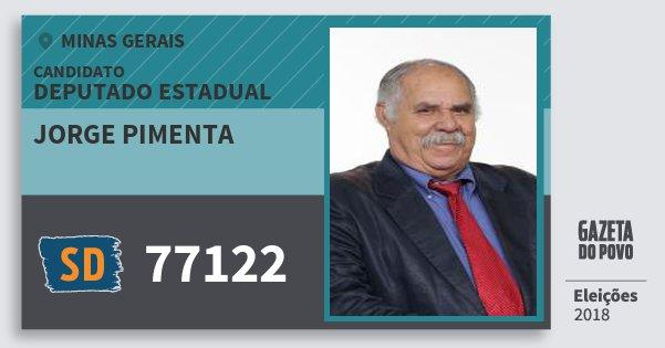 Santinho Jorge Pimenta 77122 (SOLIDARIEDADE) Deputado Estadual | Minas Gerais | Eleições 2018