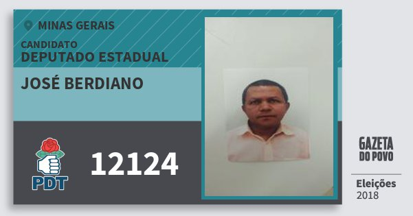 Santinho José Berdiano 12124 (PDT) Deputado Estadual | Minas Gerais | Eleições 2018