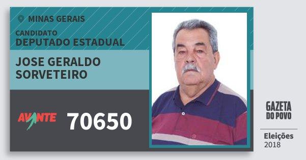 Santinho Jose Geraldo Sorveteiro 70650 (AVANTE) Deputado Estadual | Minas Gerais | Eleições 2018