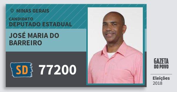 Santinho José Maria do Barreiro 77200 (SOLIDARIEDADE) Deputado Estadual | Minas Gerais | Eleições 2018