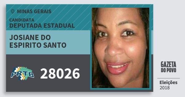 Santinho Josiane do Espirito Santo 28026 (PRTB) Deputada Estadual | Minas Gerais | Eleições 2018