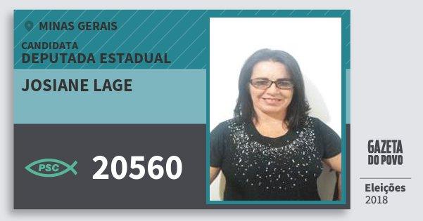 Santinho Josiane Lage 20560 (PSC) Deputada Estadual | Minas Gerais | Eleições 2018