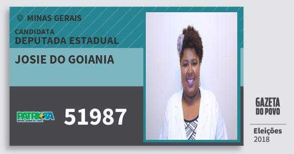 Santinho Josie do Goiania 51987 (PATRI) Deputada Estadual | Minas Gerais | Eleições 2018