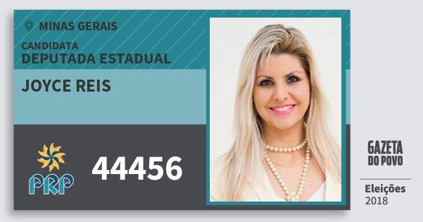 Santinho Joyce Reis 44456 (PRP) Deputada Estadual | Minas Gerais | Eleições 2018