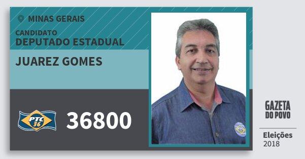 Santinho Juarez Gomes 36800 (PTC) Deputado Estadual | Minas Gerais | Eleições 2018