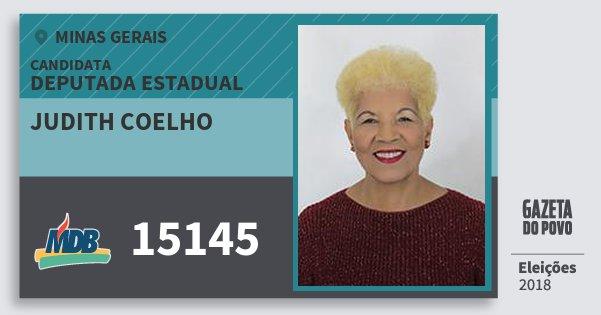 Santinho Judith Coelho 15145 (MDB) Deputada Estadual   Minas Gerais   Eleições 2018