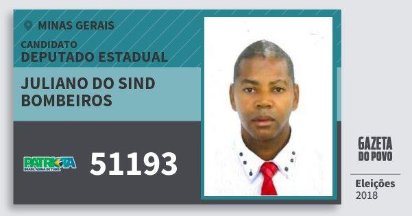 Santinho Juliano do Sind Bombeiros 51193 (PATRI) Deputado Estadual | Minas Gerais | Eleições 2018