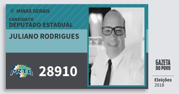 Santinho Juliano Rodrigues 28910 (PRTB) Deputado Estadual | Minas Gerais | Eleições 2018