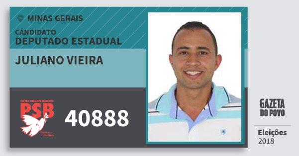 Santinho Juliano Vieira 40888 (PSB) Deputado Estadual | Minas Gerais | Eleições 2018