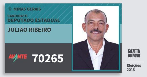 Santinho Juliao Ribeiro 70265 (AVANTE) Deputado Estadual | Minas Gerais | Eleições 2018