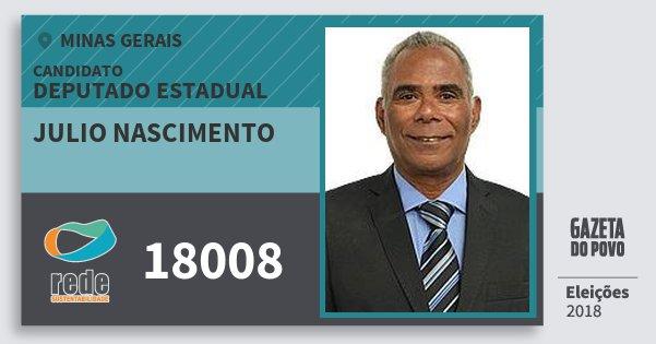 Santinho Julio Nascimento 18008 (REDE) Deputado Estadual | Minas Gerais | Eleições 2018