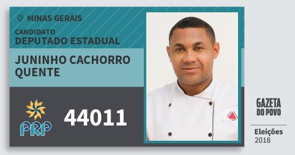 Santinho Juninho Cachorro Quente 44011 (PRP) Deputado Estadual | Minas Gerais | Eleições 2018